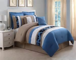 8 jolene blue and taupe comforter set