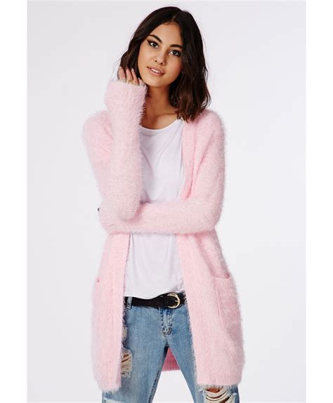 missguided ceris knitted fluffy cardigan baby pink in pink