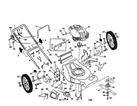 lawn mower part diagram poulan rotary lawn mower parts model pr7y21cha sears