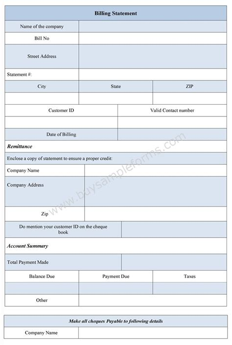 billing forms templates billing statement form bill statement template sle forms