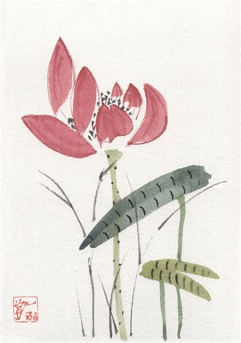 Lotus Leaf Original 30pcs this is an original watercolor painting of a lotus bud and leaves done in the brush