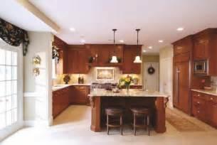 cherry cabinets light countertops kitchen ideas