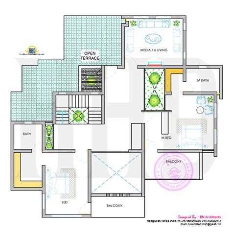 floor plan with elevation and perspective day night view of elevation and floor plan kerala home