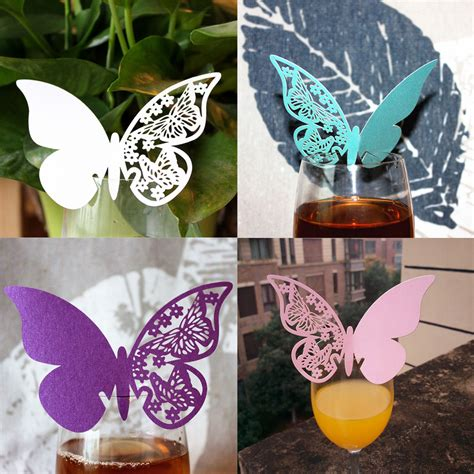 Butterfly Paper Place Card Lavender Isi 12 Pcs new 50pcs butterfly place wine glass cup paper card