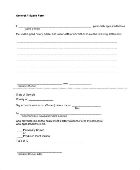 general affidavit sle affidavit form 8 exles in pdf