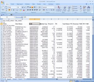 Bloomber Import data from bloomberg in excel