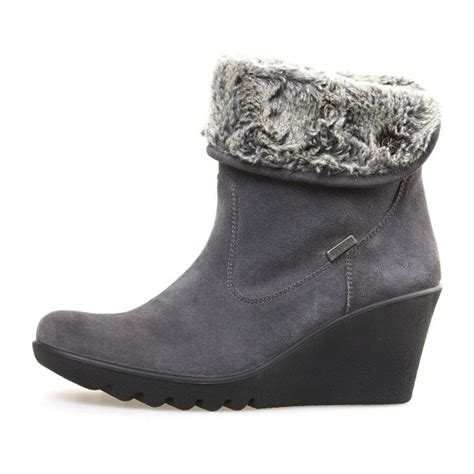 o grey suede wedge ankle boot