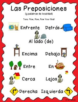 song in spanish spanish prepositions song by spanish resource shop tpt