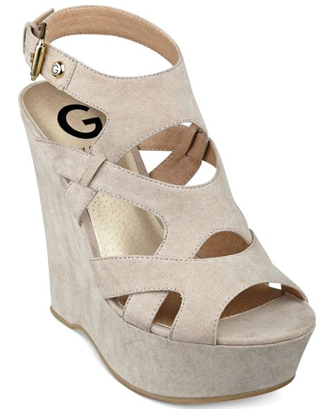 guess wedge shoes lyst g by guess hizza platform wedge sandals in