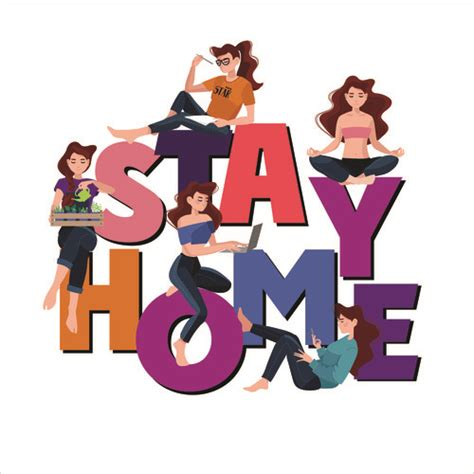 cartoon stay home vector