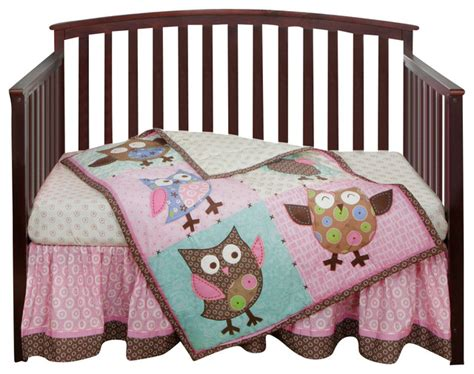 owl crib bedding sets calico owls 3 piece crib bedding set by bananafish