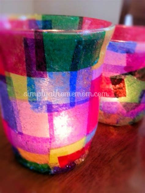 Tissue Paper Decoupage On Glass - decoupage candle holders simply at home