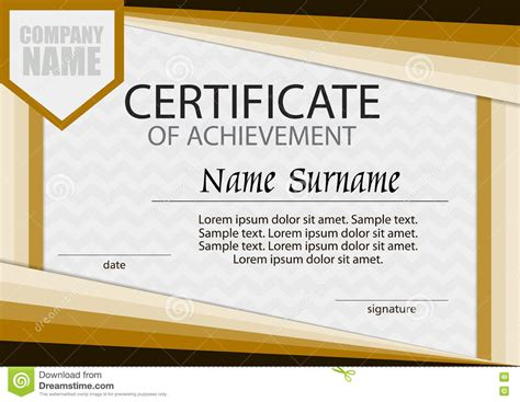 training certificate template free download certificate of achievement template horizontal stock