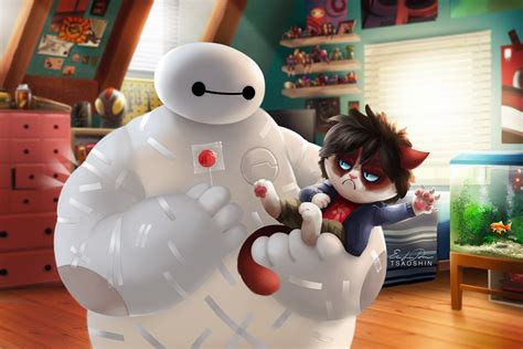baymax wallpaper for s6 big hero 6 grumpy cat crossover wallpaper and background