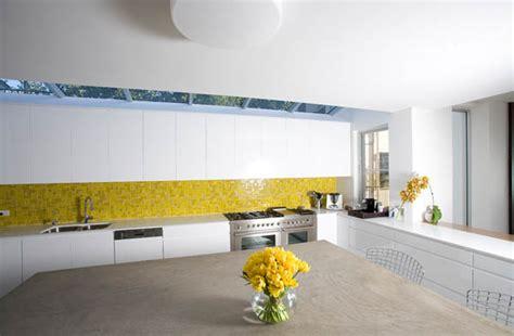 yellow and white kitchen ideas white kitchen design with yellow tiles