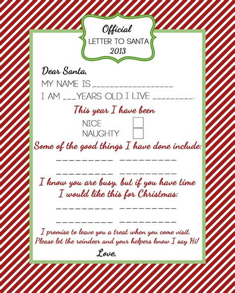 Official Letter To Santa Free Printable Or A Delicate Gift