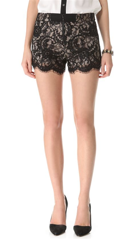 Lace Shorts high waisted lace shorts in black lyst