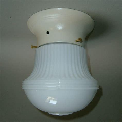 Milk Glass Light Fixtures Vintage Milk Glass Deco Flush Mount Light Fixture From Rubylane Sold On Ruby