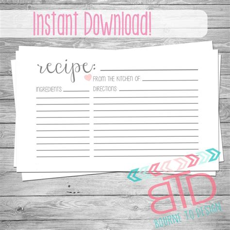 hp templates recipe cards recipe card printable recipe card instant kitchen