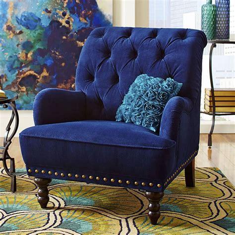 blue velvet tufted arm chair navy royal accent steampunk victorian modern dark na transitional