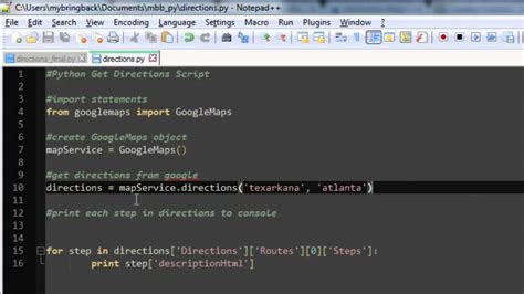 tutorial python google learn python programming tutorial 24 getting directions