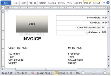 Free Invoice Template For Microsoft Word Create A Simple Invoice Template In Word