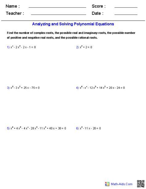 Solving Polynomial Equations Worksheet algebra 2 worksheets polynomial functions worksheets