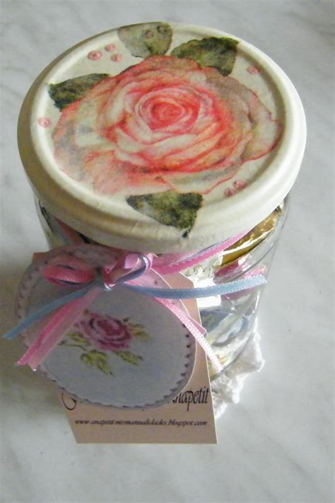 Glass Decoupage - glass jar with pink decoupage lid decor roses