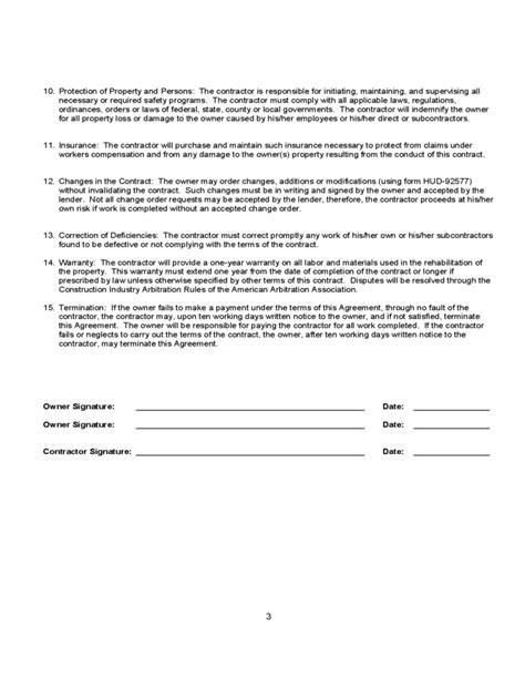 agreement between owner and contractor template homeowner or contractor agreement free