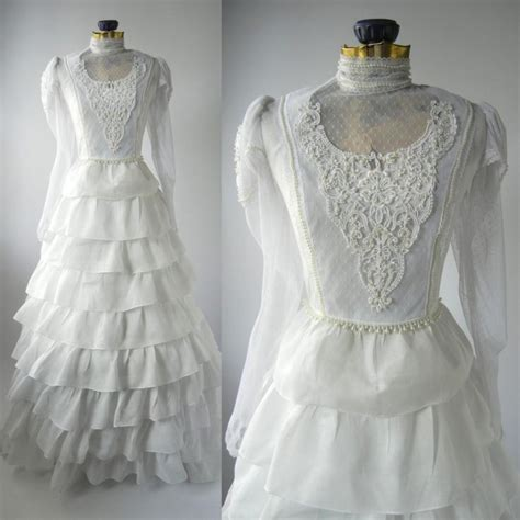 vintage wedding gown white retro bridal dress linen - White Retro Wedding Dresses