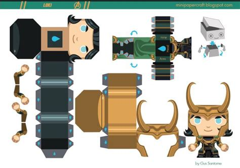 mini papercraft loki de gus santome toys paper and loki