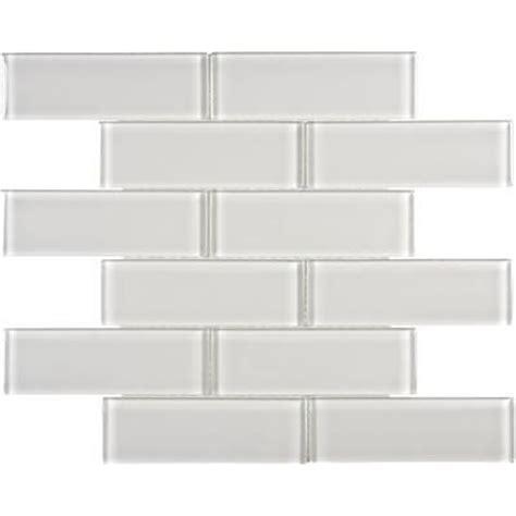 home depot backsplash glass tile sassi 2x6 arctic fog glass brick mosaics 12 183 home