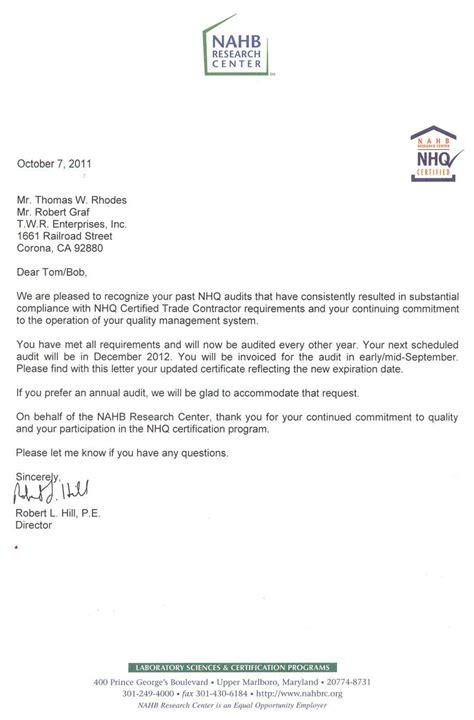 Commitment Letter Audit 2012 Nhq Re Certification Twr Framing Enterprises