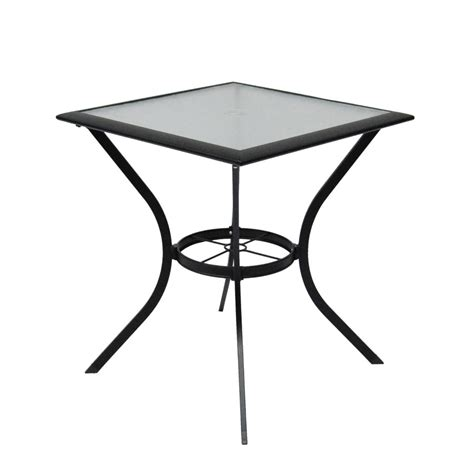Shop Garden Treasures Cascade Creek Glass Top Black Square Black Glass Patio Table