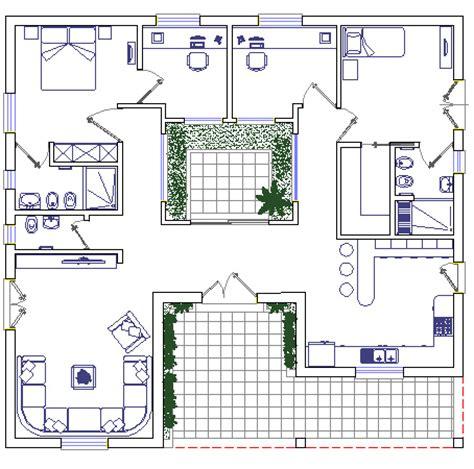 pianta casa unifamiliare con patio dwg