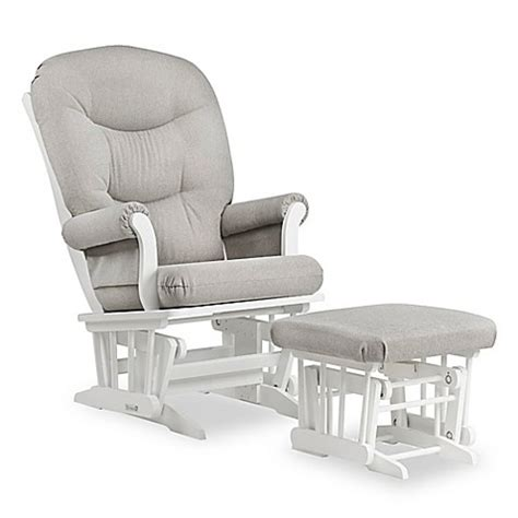 grey and white glider and ottoman dutailier 174 sleigh glider and ottoman in white light grey