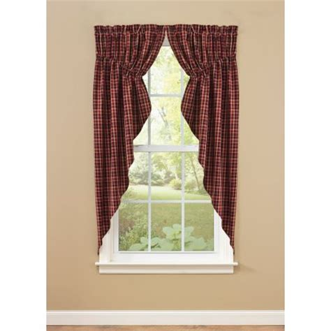 plaid swag curtains gathered primitive country swag curtains in red black and