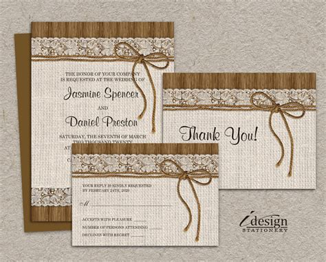 Wedding invitation sets burlap and lace wedding invitation kits