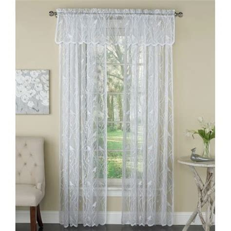 white lace curtain lorraine home songbird white lace curtain panel panels
