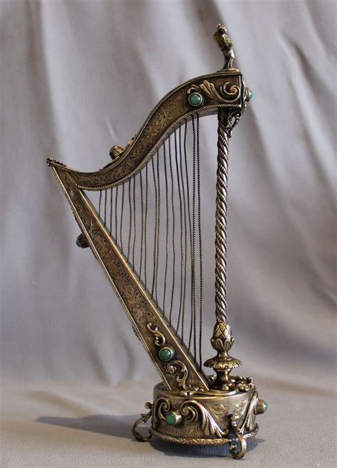 Silver L Harp by A Musical Harp Silver Gilt And Jewelled Austro Hungarian
