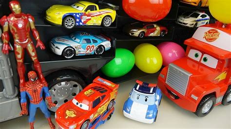 superheroes trucks car garage heroes cars truck and robocar poli surprise eggs car toys