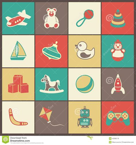 toys flat icons set stock vector image 40380176