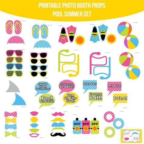 free printable photo booth props pool party 12 best images about pool party on pinterest photo booth