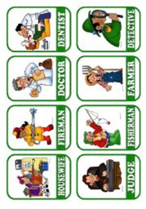 printable flash cards jobs english worksheets occupations flashcards 2 5