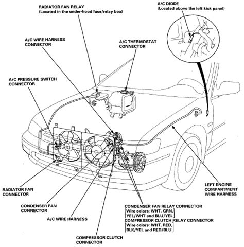 wiring and connectors locations of honda accord air conditioning system 94 07 circuit