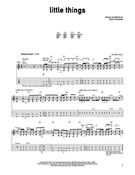 tutorial guitar little things little things guitar tab by bush guitar tab 162358