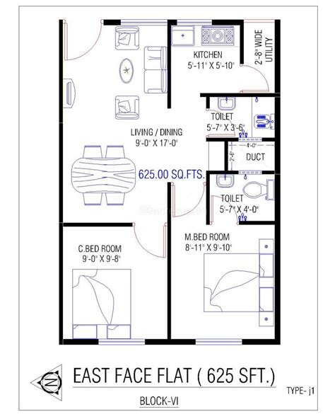 700 sq ft duplex house plans house plan for 700 sq ft east facing numberedtype