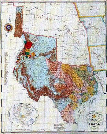original map of texas note found at smu a link to republic of texas birth smu