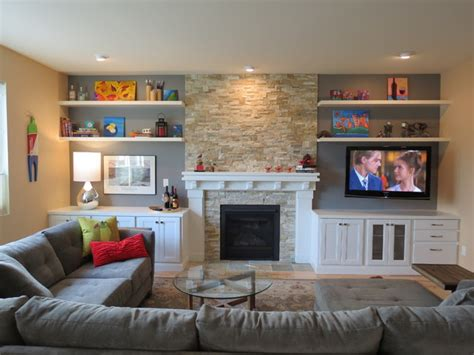 Contemporary Living Room Built Ins Fireplace