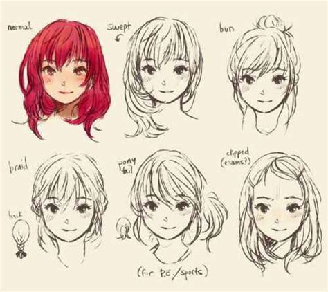anime hairstyles sketch different anime hair styles manga sheets pinterest